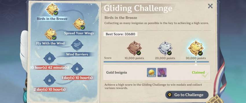 Genshin Impact gliding challenge locations and rewards guide
