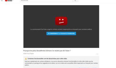 Youtube n'aime vraiment pas nos vidéos…