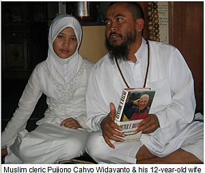 pedophile Muslim cleric Pujiono Cahyo Widayanto & his  12-year-old wife