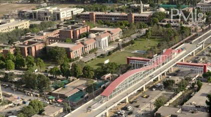 Aerial view of Metro Bus station in Islamabad