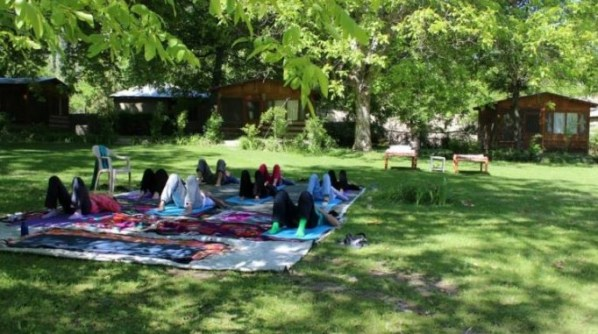 Yoga session in Chitral by Aisha Chapra.