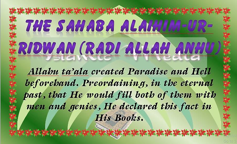 THE SAHABAalaihim-ur-ridwan (radi allah anhu)