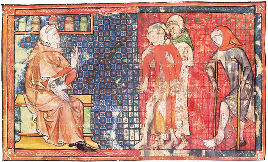 In a 14th-century French version of al-ZahrawiÕs Arrangement of Medical Knowledge, a sick man and a crippled man are presented to a doctor. Al-ZahrawiÕs compendium was used in Europe till the late 16th century.