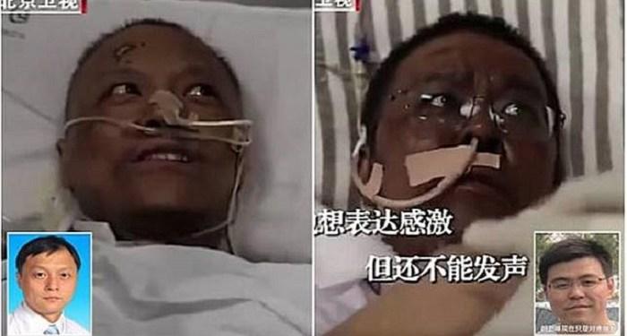 2 dokter di Wuhan sembuh dari Covid-19, namun kulit mereka jadi menghitam. Foto: CCTV