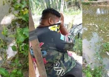 Zainundin Khozen menangis saat ikan-ikan miliknya mati. Foto: Facebook