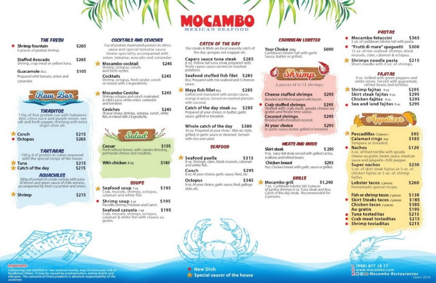 Restaurante Mocambo Isla Mujeres Menu
