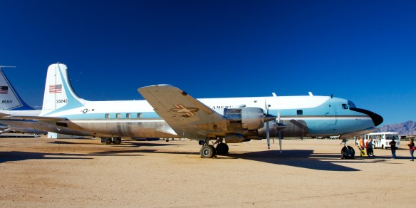 Boeing VC118A Liftmaster.  This one served as Air Force One for Presidents Kennedy and Johnson