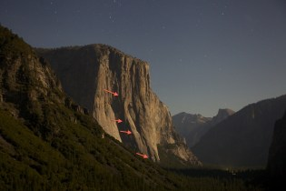 See the lights of the various climbing parties