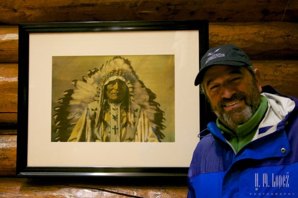 Hector with a photo of Chief Hector Crawler