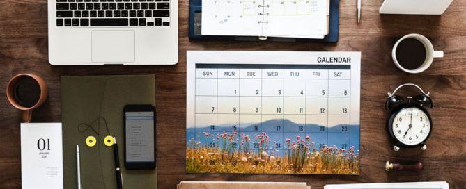 Business Desk With Calendar