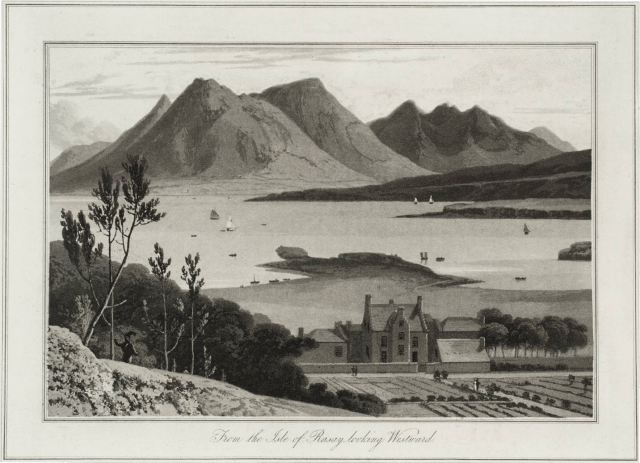 """William Daniells """"Raasay Looking Westward"""" showing what Raasay House and the Old Pier would have looked like in the 1800s"""