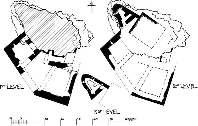 The existing levels of Brochel castle.