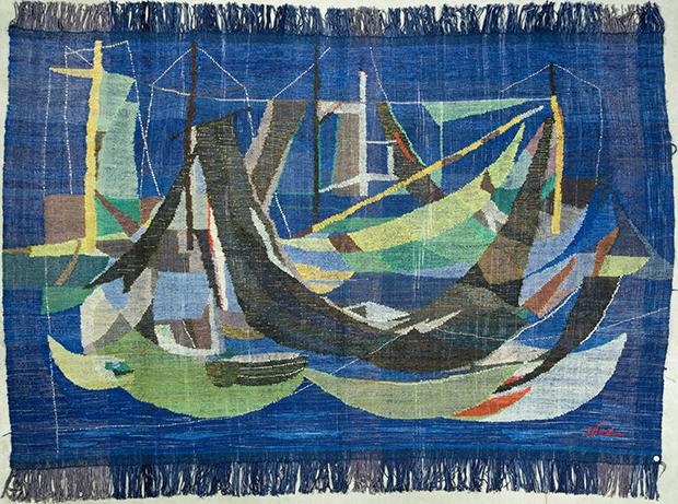 Enrico Paulucci delle Roncole, Boats tapestry, c. 1953, MITA Archive, Nervi, on loan to Wolfsoniana – Palazzo Ducale Fondazione per la Cultura, Genoa