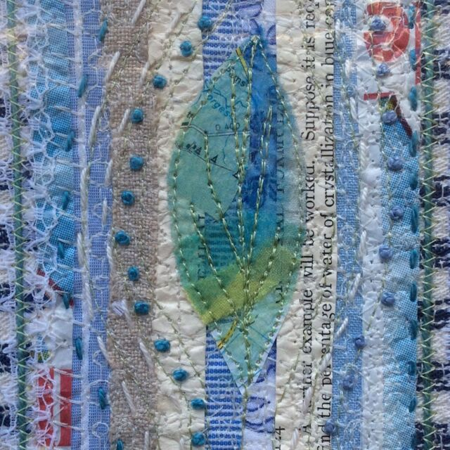 """Day 4 of #septtextilelove2021 is """"method/technique"""" and I've found one of the earliest examples of my oeuvre! Recycled paper and fabric strips, natural/cotton fabrics, held together with automatic machine stitches and very simple - but precisely placed - hand embroidery. I like rough edges and frayed bits and recycled, but I'm a stickler for detail too 👍 oh, and I do like a leaf 🍃"""