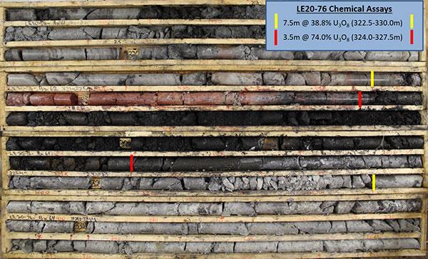 LE20-76 Core Photo of High-Grade Uranium Mineralization