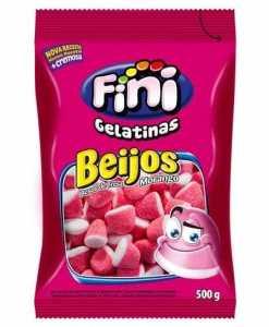 Bala de Gelatina Beijos de Morango Açucarados 500g - Fini