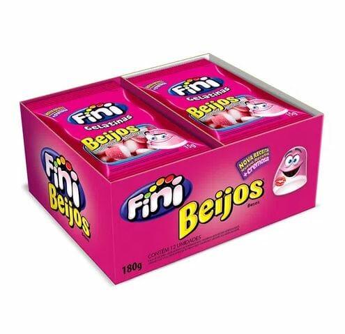 Mini Beijos de Morango com 12 pacotes de 15g cada - Fini