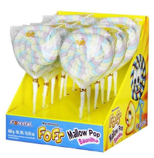 Marshmallow Fofs Colorido- Mallow Pop Baunilha com 12 unidades - 480g - Florestal