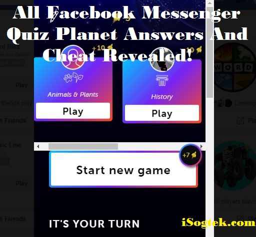 All Facebook Messenger Quiz Planet Answers And Cheat Revealed! -
