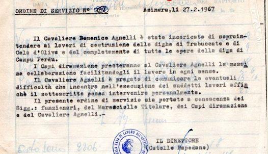 L'ordine di servizio rintracciato da Leonardo Delogu.