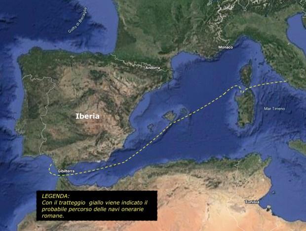 La probabile rotta delle navi onerarie romane
