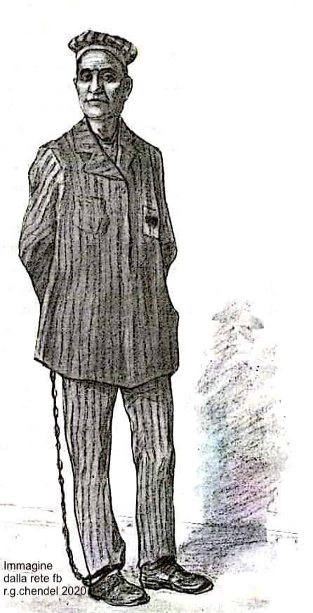 Foto 1) Riproduz. disegno detenuto con catena periodo pre 1902