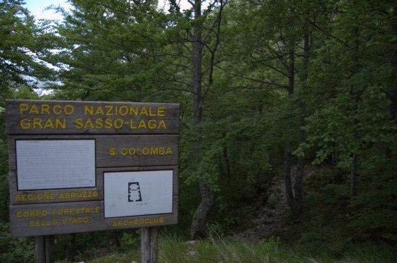 Il cartello del Parco Nazionale