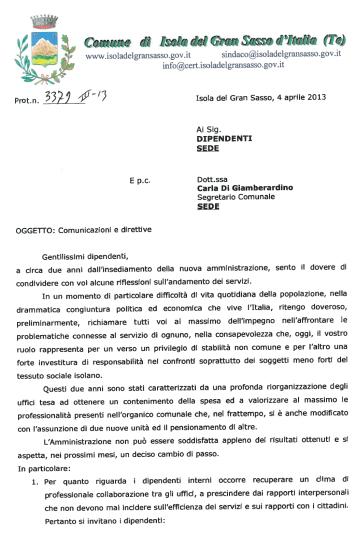 Lettera sindaco ai dipendenti - Pagina 1