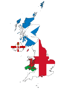 United Kingdom and Northern Ireland Flag Map