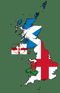 United Kingdom and Northern Ireland Flag Map