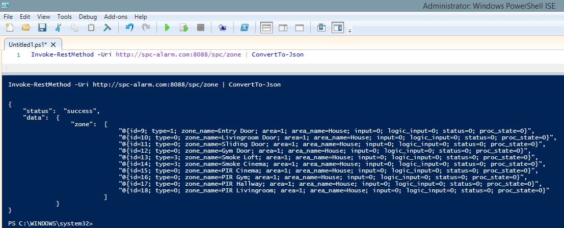 Controlling my intrusion detection system (alarm) via Powershell