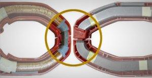 interior de una pinza amperimétrica de efecto hall