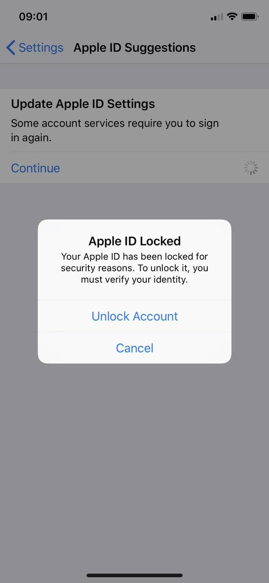 apple id bloccato