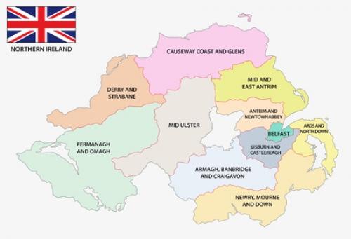 northern ireland regions map uk