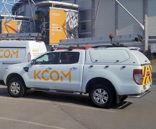 kcom van with ladder on top