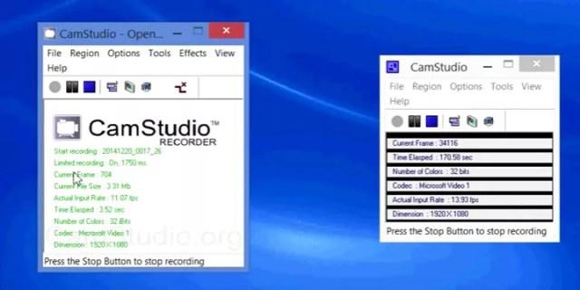Processus d'enregistrement de CamStudio