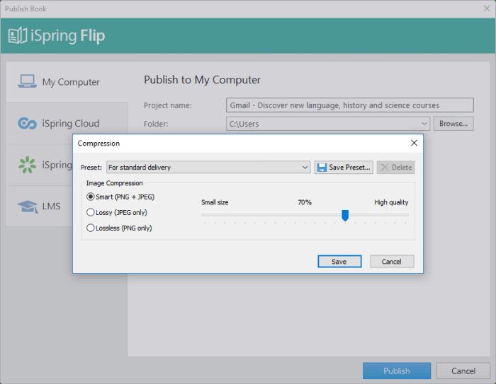 İSpring Flip'te yayınlama seçenekleri