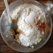 Step 5: Add the flour and coconut