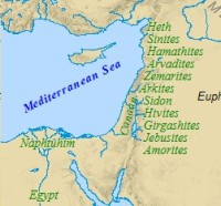 Sons of Noah: Map of the land of Canaan.