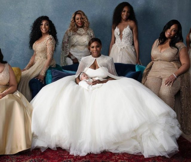 Serena Williams Surrounded By Six Attendants All Wearing Galia Lahav Gowns And Her Mother At Her Wedding On Nov   Photo By Bob Metelus And Erica