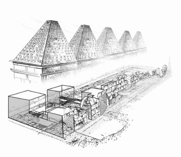 Reconstruction of the structure exposed by Clermont-Ganneau.
