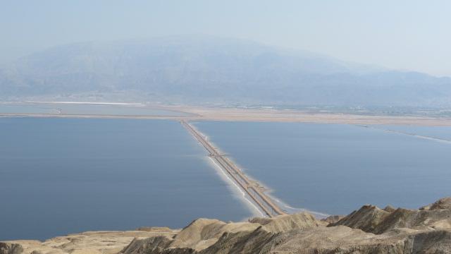 Mount Sodom Dead Sea salt evaporation ponds