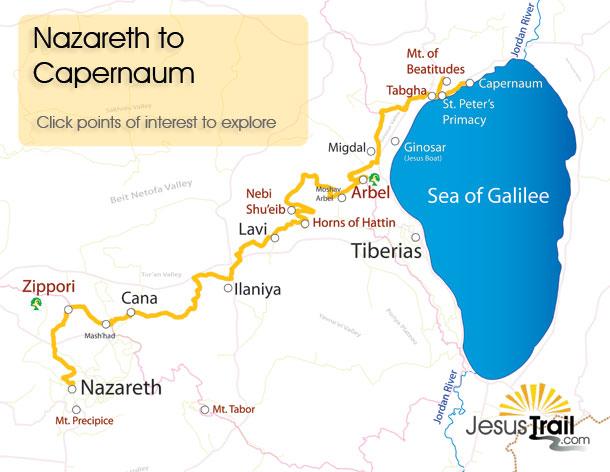 The Jesus Trail - http://jesustrail.com/route-maps/nazareth-to-capernaum