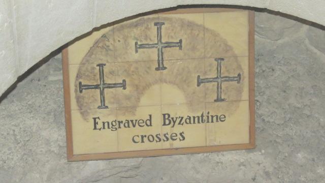 Church of Saint Peter in Gallicantu - engraved Byzantine crosses