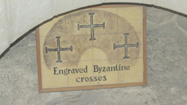 Church of Saint Peter in Gallicantu - engraved Byzantine crosses