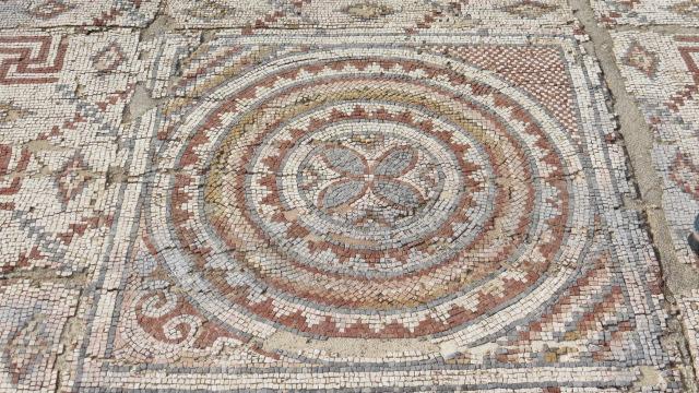 Byzantine church mosaic floor- Shavei Zion