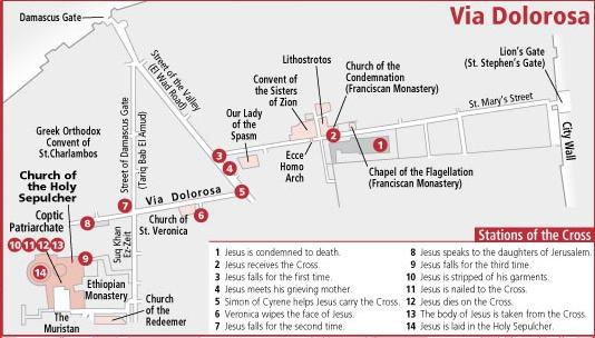 Via Dolorosa map