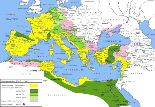 Extent of the Roman Empire under Augustus. The yellow legend represents the extent of the Republic in 31 BC, the shades of green represent gradually conquered territories under the reign of Augustus, and pink areas on the map represent client states; areas under Roman control shown here were subject to change even during Augustus' reign, especially in Germania. Author: Cristiano64 Judaism