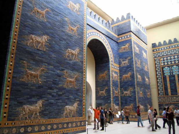 A reconstruction of the blue-tiled Ishtar Gate which was the northern entrance to Babylon. It was named for the goddess of love and war. Bulls and dragons, symbols of the god Marduk, decorated the gate. Photo: Rictor Norton