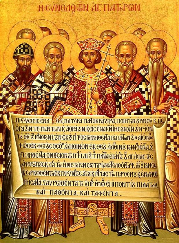 Icon depicting the Emperor Constantine (centre) and the bishops of the First Council of Nicaea (325) holding the Niceno–Constantinopolitan Creed of 381. Christianity